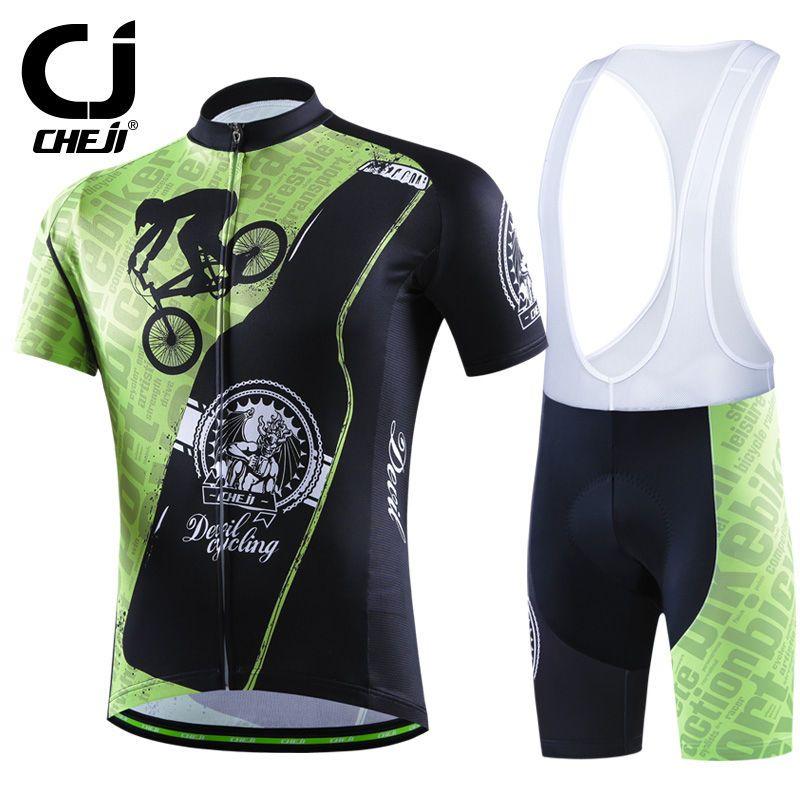 CHEJI Devil Cycling Jerseys And Bibs Set Men Bike Shirts   MTB Padded Bib  Shorts   e24dd7f74