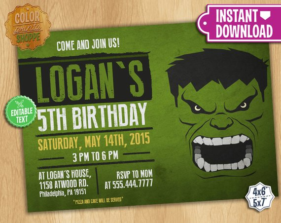 The Hulk Invitation
