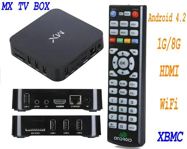 Support XBMC AMLogic 8726 MX Smart tv box 1GB RAM 8GB Android 4.2 HDMI AV WIFI (Mx) - China AMLogic mx tv box, OEM