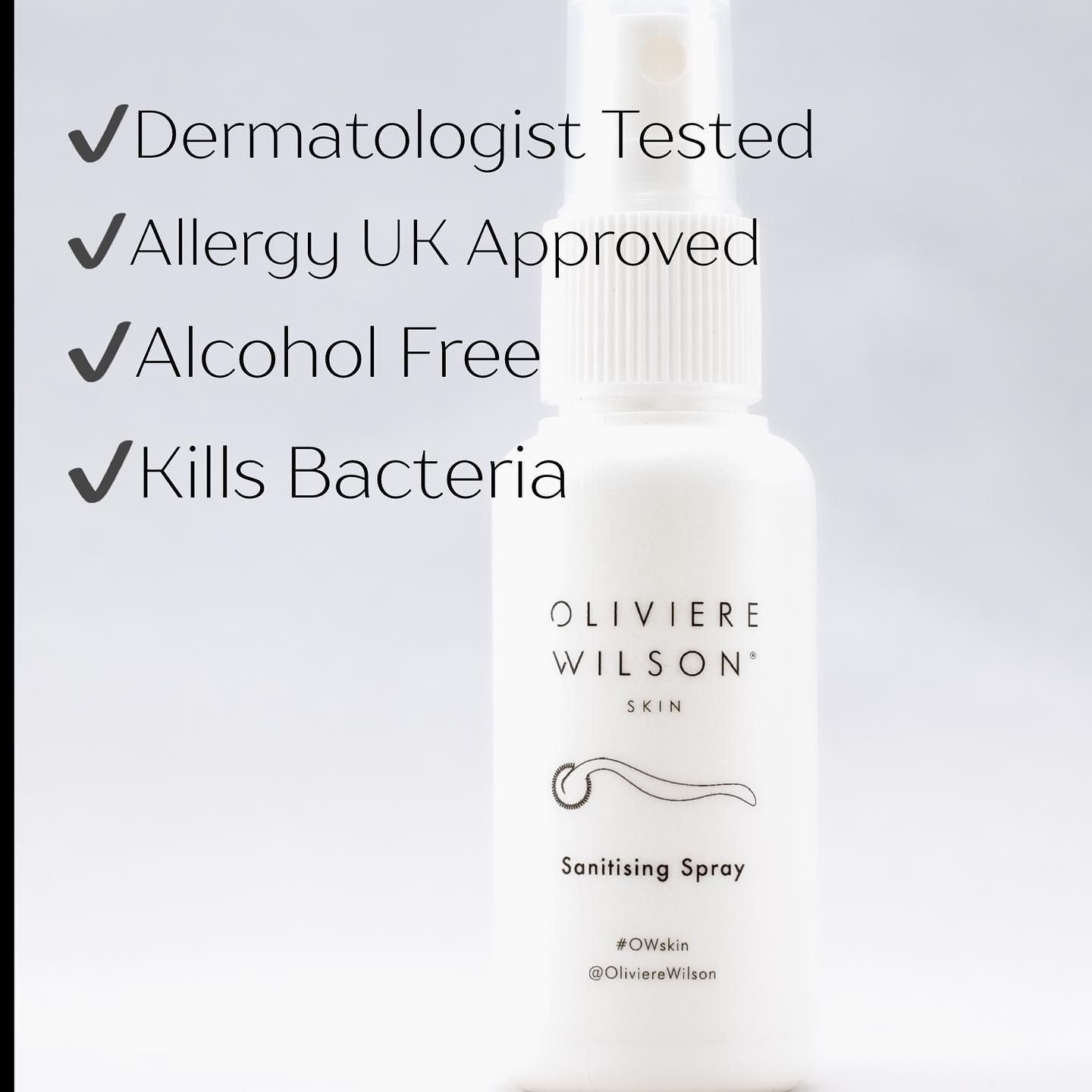 How to clean your Microneedling device? Meet our sanitising spray. So easy to use with no mess. Spray directly on to your roller then place the device in the protective casing. Leave to dry. Comes with all Microneedling purchases ✨ . . #owskin #olivierewilson #sanitisingspray #sanitisingwater #keepitclean #microneedle #dermatologistrecommended #allergyukapproved