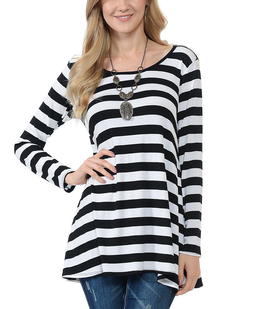 Black & White Wide Stripe Scoop Neck Tunic