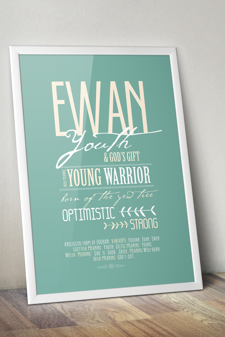 Name meaning print Personalized Baptism gift Boys Custom New baby boy gift Nursery art Christening gifts for boys Printable Digital name art