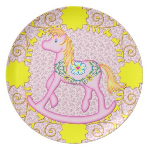 Pretty Pink Floral Carousel Rocking Style Horse Dinner Plate  sc 1 st  Pinterest & Pretty Pink Floral Carousel Rocking Style Horse Dinner Plate ...