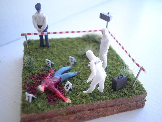 Miniature Crime Scene Diorama, $35 | crafts | Art for sale