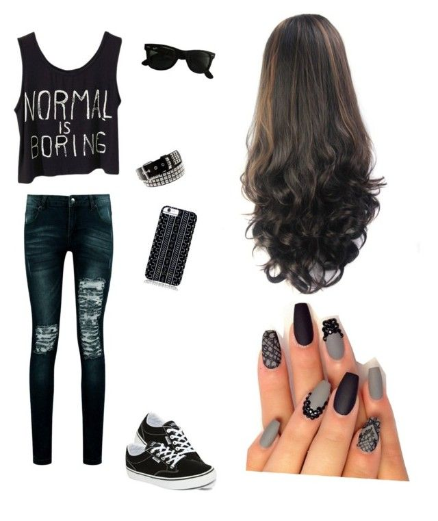 """""""normal is boring"""" by cassidy15paquette ❤ liked on Polyvore featuring Boohoo, Vans, Ray-Ban and Savannah Hayes"""