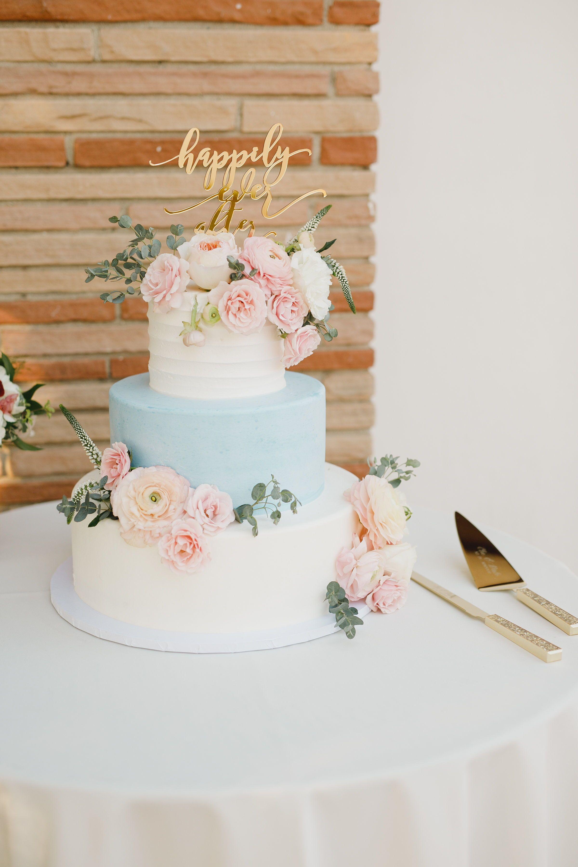 Pastello Torta Nuziale 3 Livelli Blu E Bianco Torta Nuziale Con Fiori In 2020 Pastel Wedding Cakes Winter Wedding Cake Simple Wedding Cake