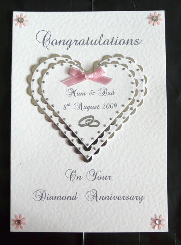 Ordinary 60th Wedding Anniversary Card Making Ideas Part - 13: Personalised Diamond 60th Wedding Anniversary Card