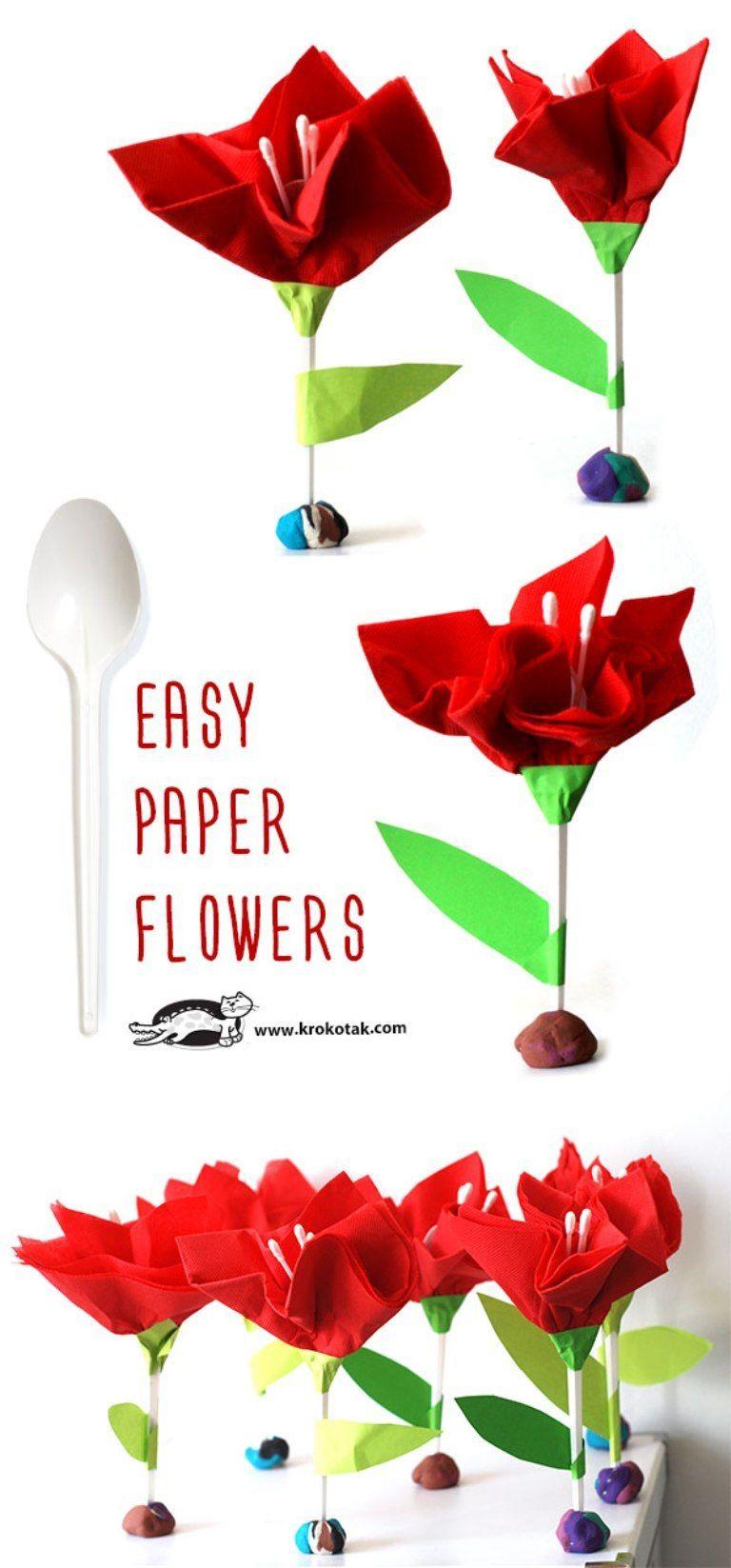 Tulipany Z Serwetek I Lyzeczki Paper Flowers Easy Paper Flowers Diy Paper Christmas Tree