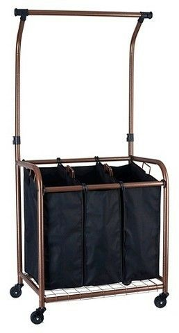 3 Bag Laundry Sorter With Hanging Rack Laundry Sorter