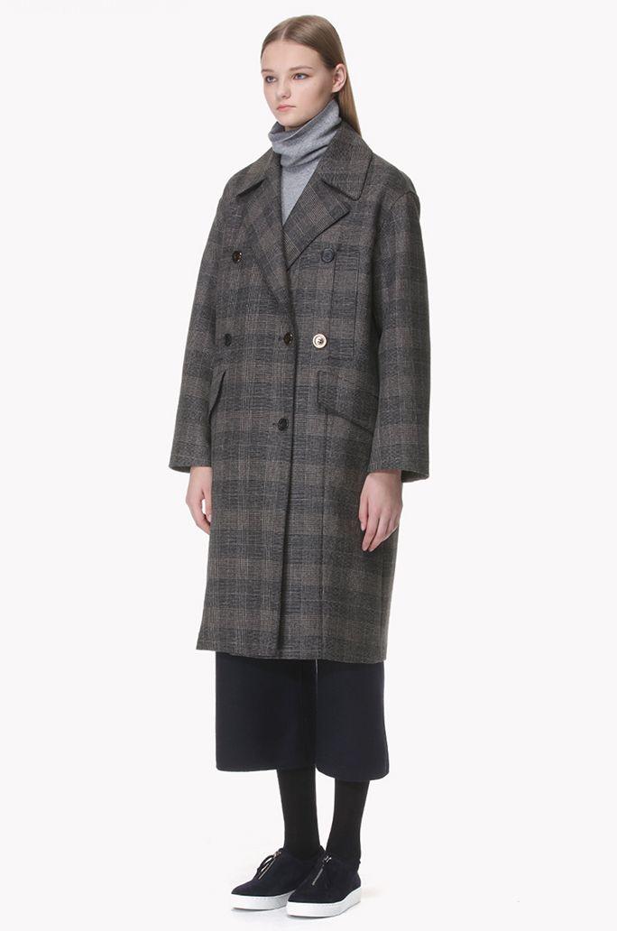 Glen check wool double coat