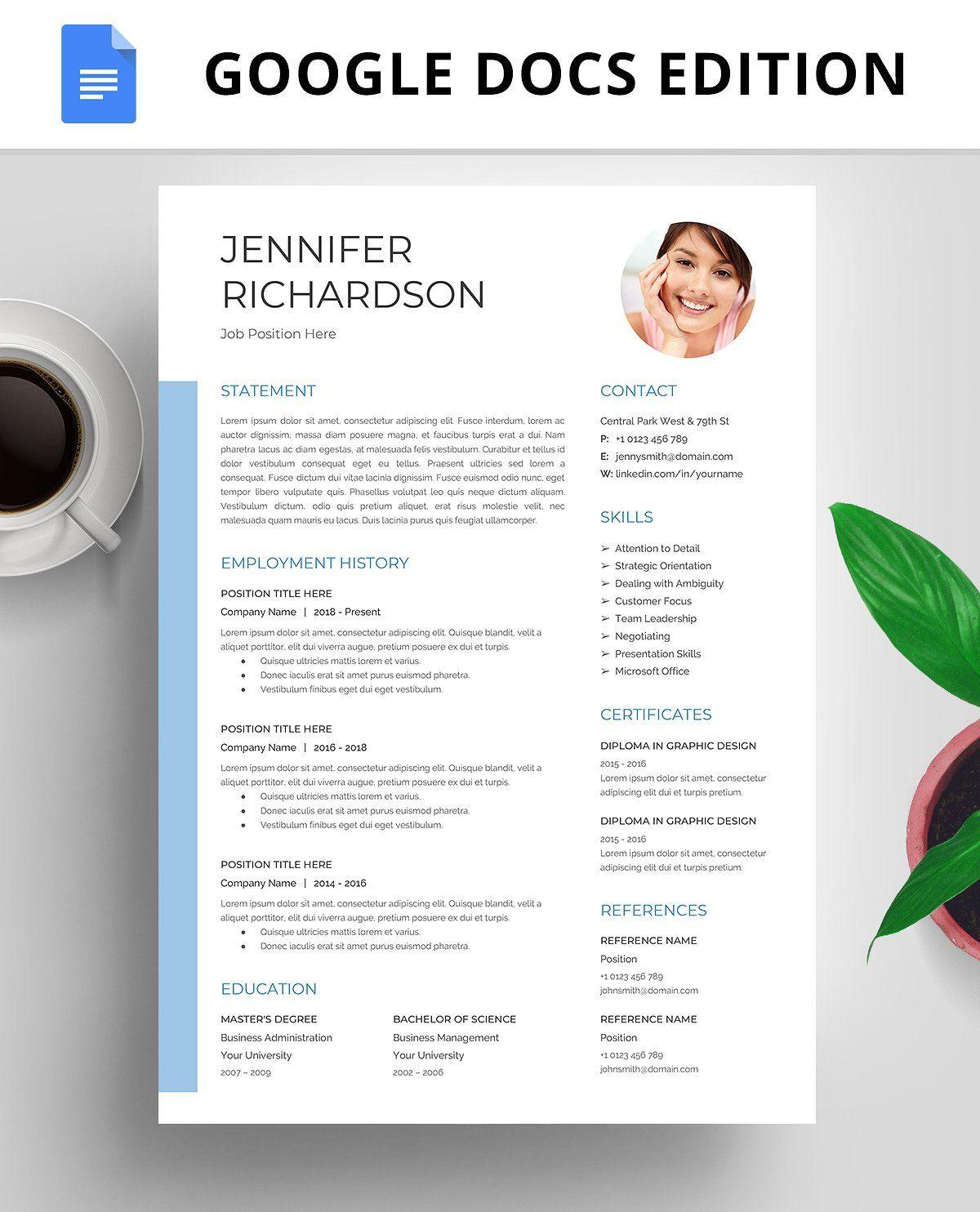 Resume Template Cv Google Docs