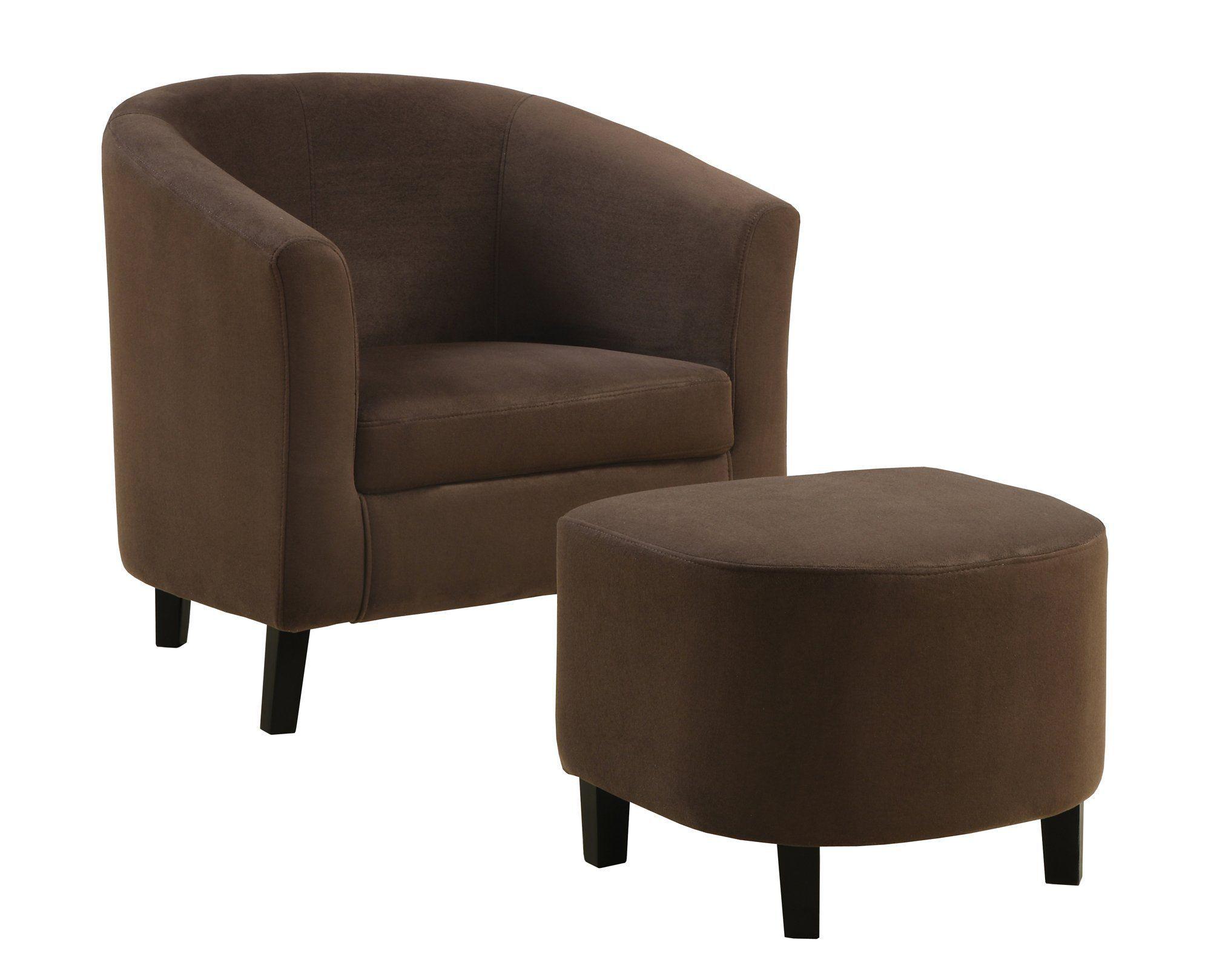 Accent chair 2pcs set chocolate microfiber fabric