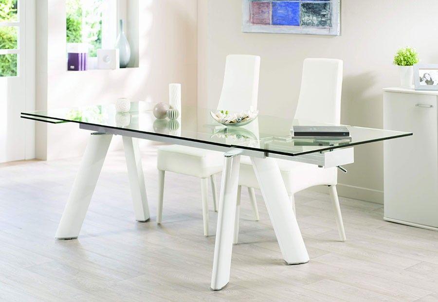 Table de salle à manger design en verre et aluminium OLEANE, coloris - modele de salle a manger design