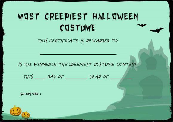 Creepiest Halloween Costume Certificate Template Halloween Costume