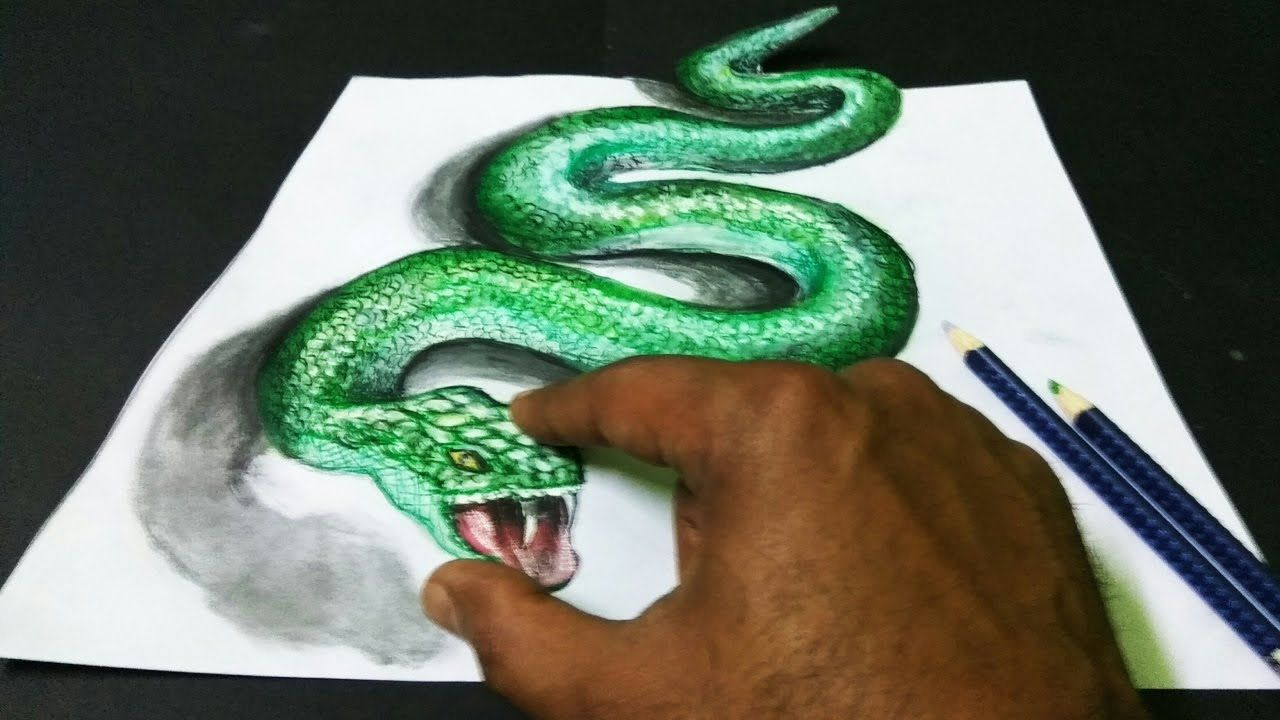 how to draw a 3d snake step by step