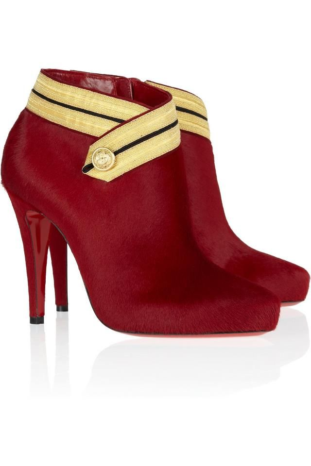 Christian Louboutin Burgundy Suede Marychal 100 calf hair ankle boots