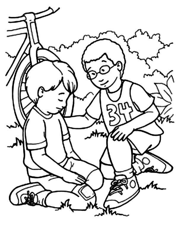 Kindness kindness helping friend falling from bike for Friends coloring pages for preschoolers