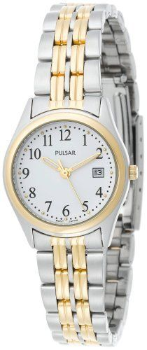 Pulsar Women's PXT588 Dress Two-Tone Stainless Steel Watch Pulsar. $64.99. Water-resistant to 99 feet (30 M). Brass case; white dial; date function. Strong Hardlex crystal protects watch from excessive wear on dial. Quality Japanese-quartz movement. Case diameter: 26 mm
