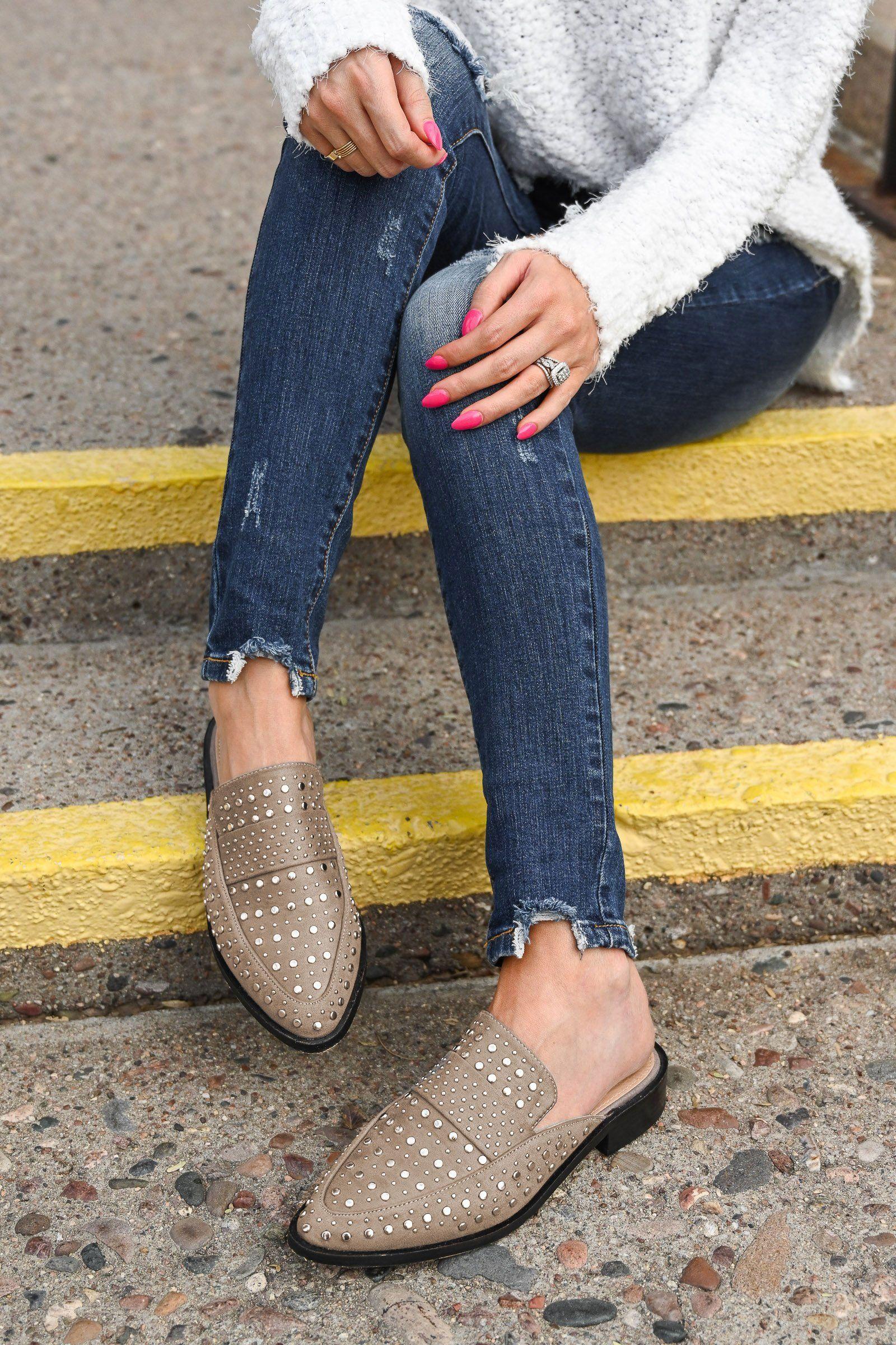 autumn women boots flat Ladies winter Taupe slip on