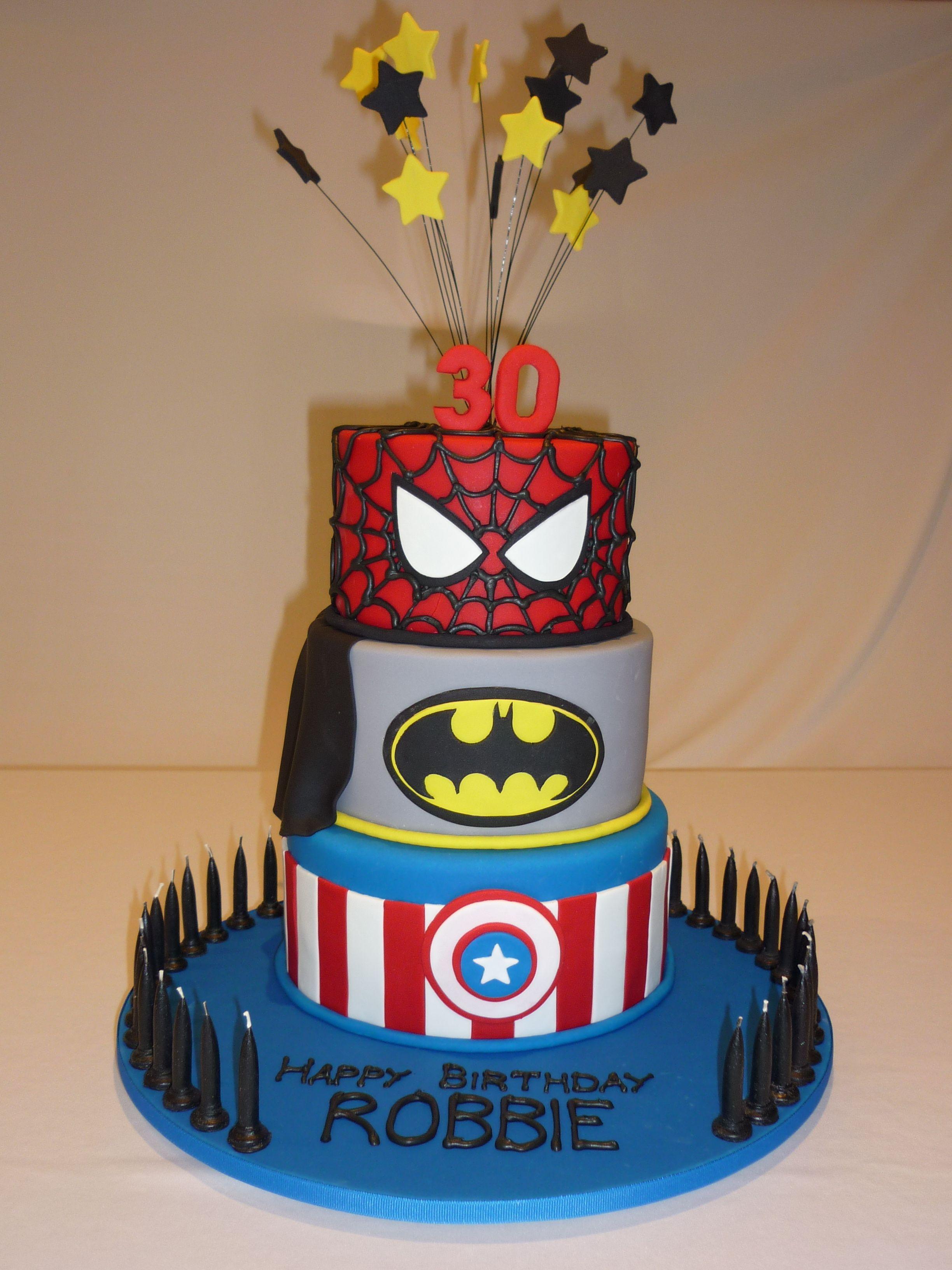 Spiderman Batman and Captain America Super Hero 30th birthday cake