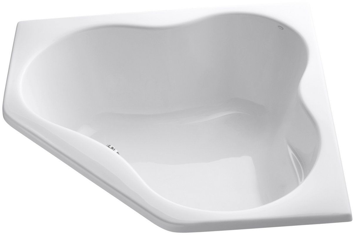 "View the Kohler KBF-1155-0 White Proflex Collection 54"" Corner Soaking Bath Tub with Center Drain at Build.com."