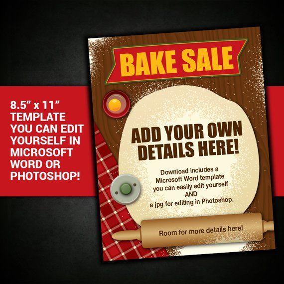 EDITABLE Bake Sale flyer bake sale poster bake sale flyer template - bake sale flyer template microsoft