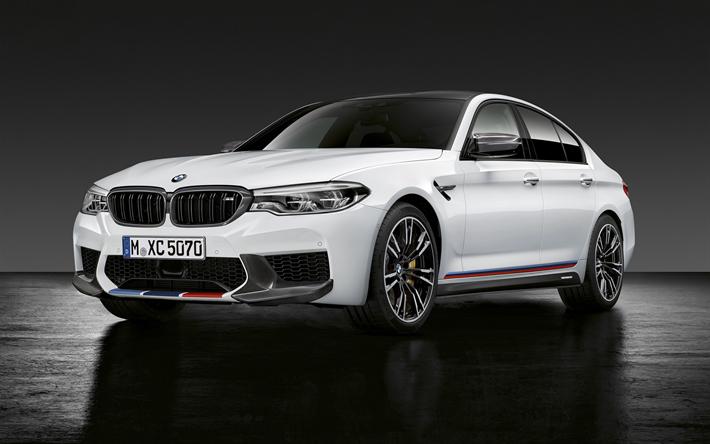 Download Wallpapers BMW M5 2018 Cars Studio G30 White German