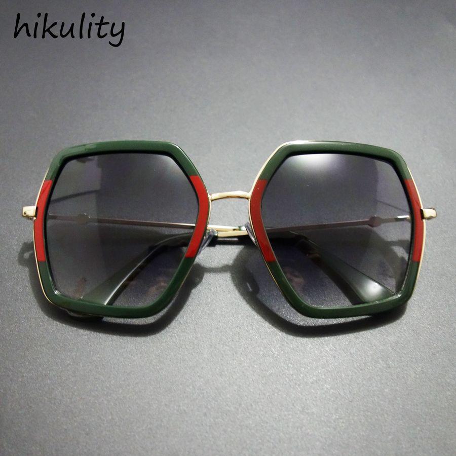 ed86a1f459b 86204 Luxury Polygon Sunglasses Women Vintage Gradient Shades Ladies  Oversized Brand Designer Sun Glasses Female Lunette Femme