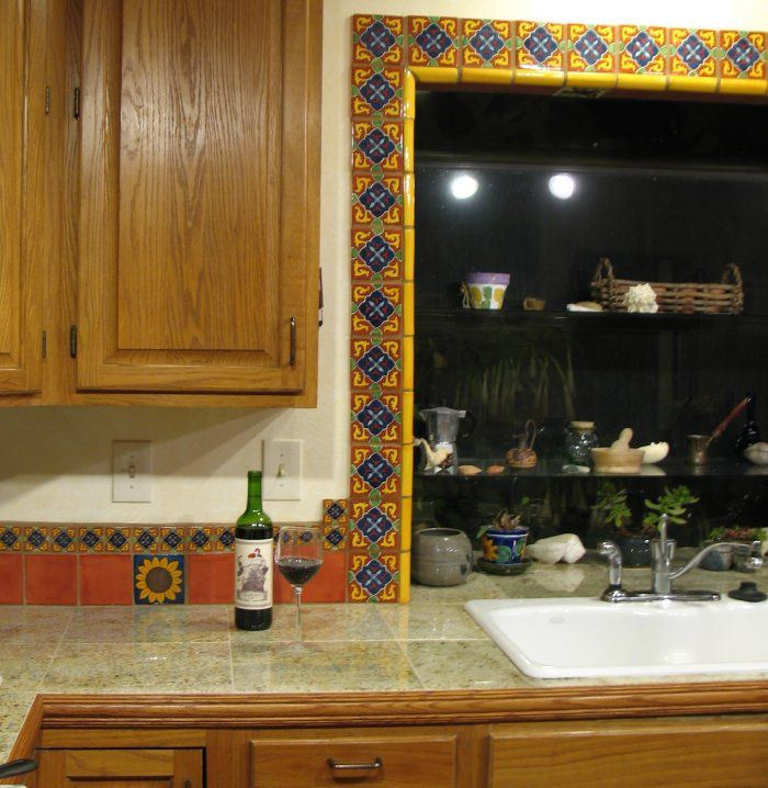 Mexican Ceramic Tile Backsplash | Mexican Tile Around The Window ...