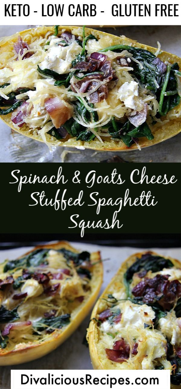 Spinach & Goat Cheese Stuffed Spaghetti Squash #stuffedspaghettisquash