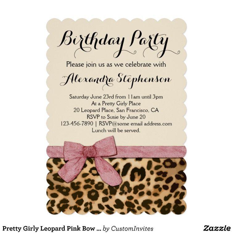 Pretty Girly Leopard Pink Bow Birthday Party Invitation | Safari ...