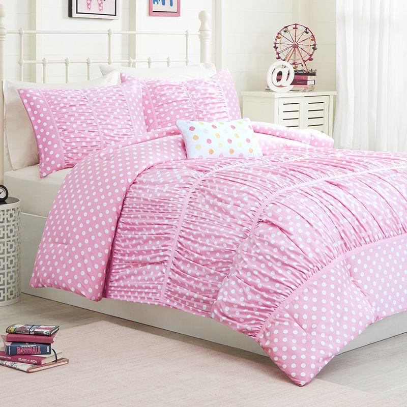 Mizone Lia Twin XL Comforter Set Pink Polka Dots for