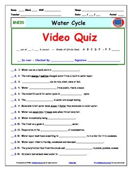 Quiz For Bill Nye Water Cycle