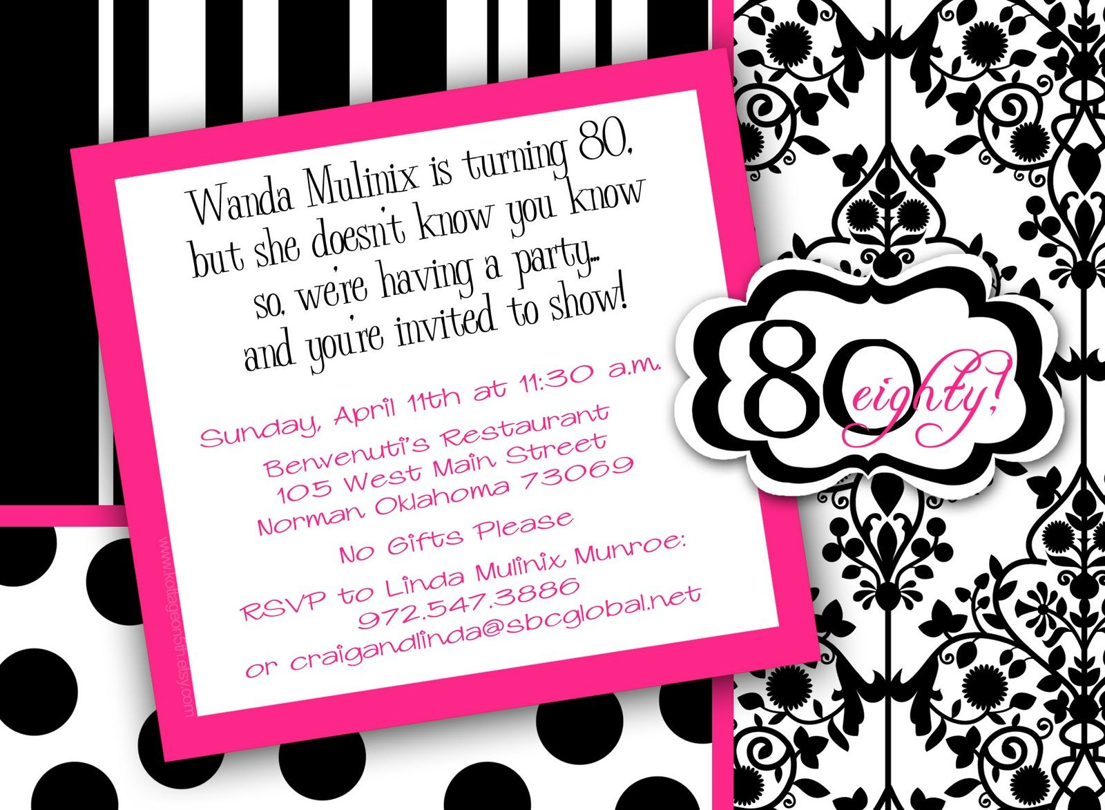 80th Birthday Party Invitations Templates | 80 birthday, Party ...