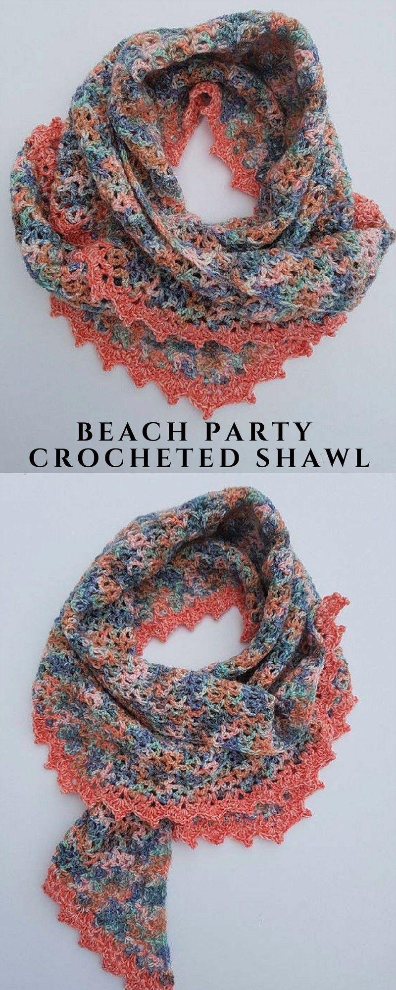 Beach Party - Easy Crochet Shawl Pattern #sponsored   Crochet Shawls ...