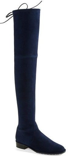 Stuart Weitzman 'Lowland' Over the Knee Boot. I guess you can never go wrong with this. Put this navy knee high boots on with your all black outfit. Be dat pop of color in your closet.:) #shoes #boot #kneehighboots #lowland #sw #stuartweitzman