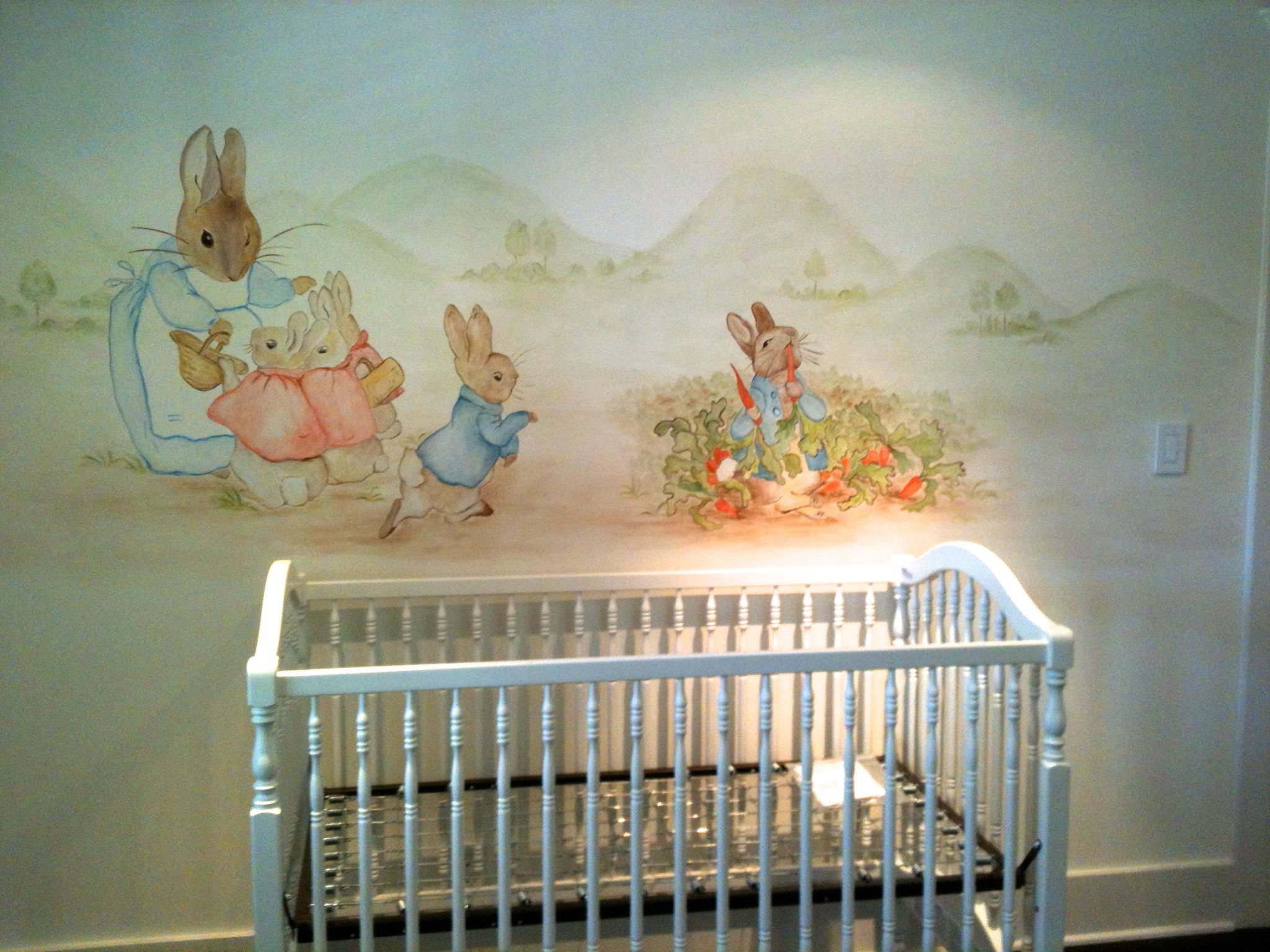 Nursery mural after the book peter rabbit childrens room for Beatrix potter mural wallpaper