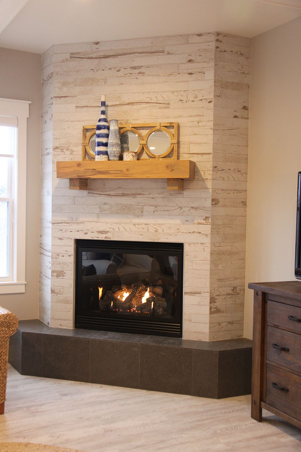 Wood Look Ceramic Tile Corner Fireplace | dundee decor. | Pinterest ...