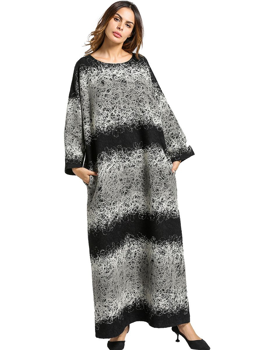 8fcde80682 Casual Wool Maxi Dress Winter Thicken Abaya Warm Long Robe Gowns Woolen  Loose Style Muslim Middle East Arab Islamic Clothing  Abaya style