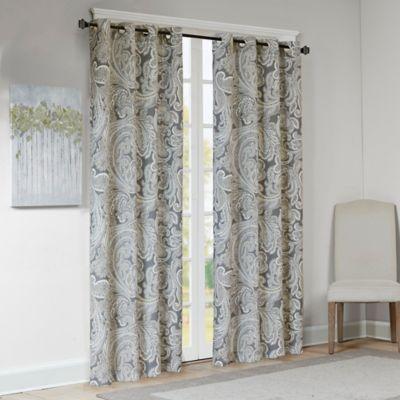 Madison Park Ronan Cotton Paisley 63 Window Curtain Panel In Grey