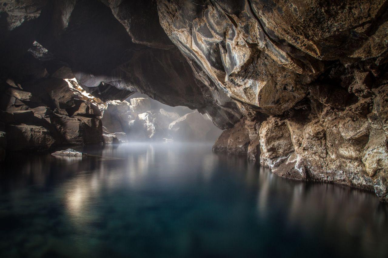 Grjótagjá, The Blue Cave. A small thermal spring near lake