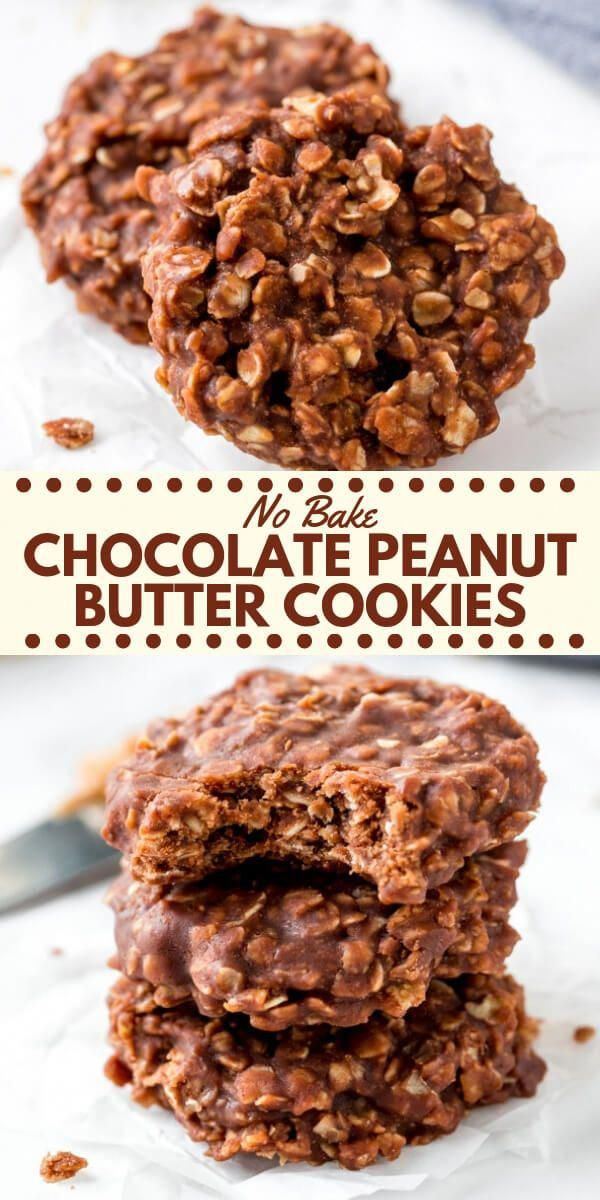 These chocolate peanut butter no bake cookies extra chewy filled with texture and have a delicious chocolate peanut butter flavor You only need a few simple ingredients t...