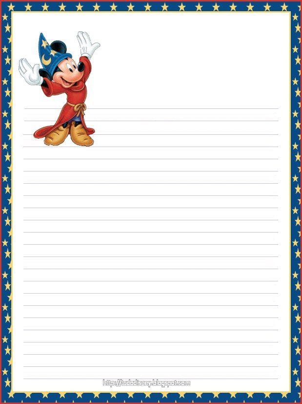 Papéis de Carta da Disney: Princesas, Carros, Sininho para Imprimir