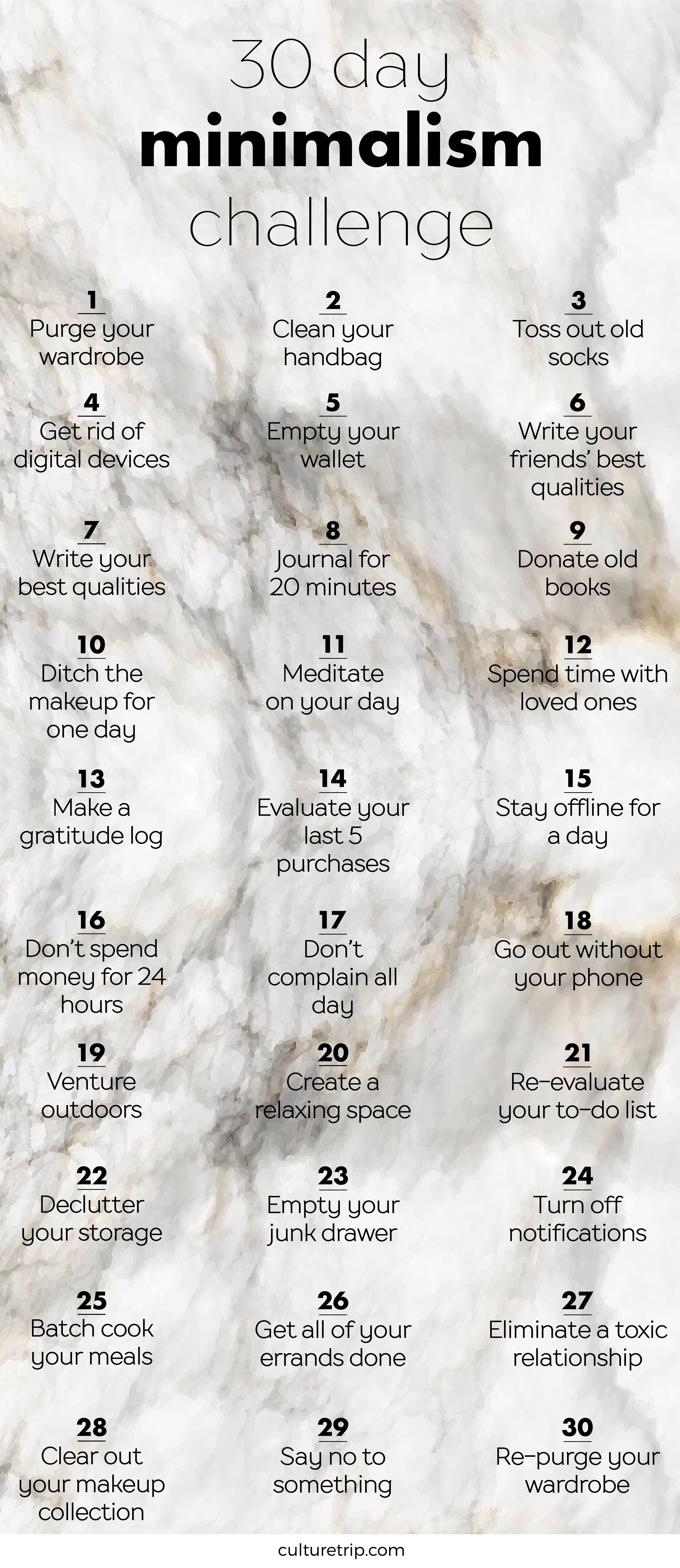 The 30 day minimalism challenge minimalism 30th and for Minimalist living checklist