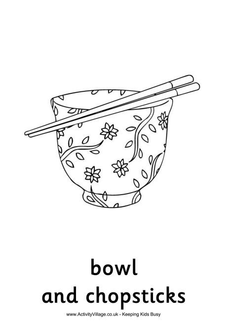 Bowl And Chopsticks Colouring Page Nouvel An Chinois Livres