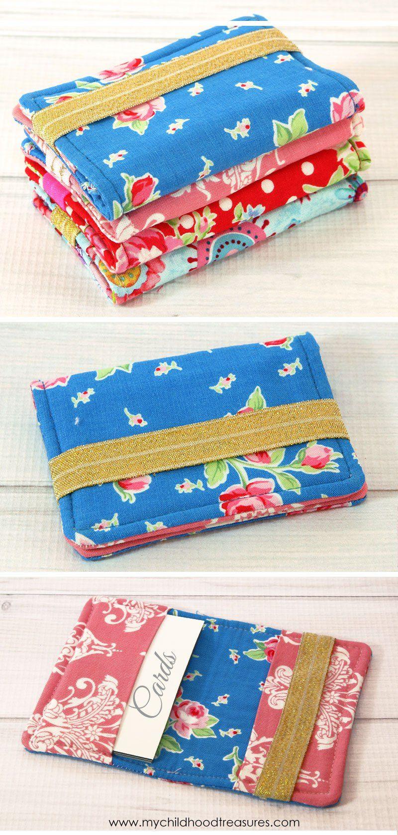 Diy Card Holder Fabric Card Holder Tutorial Treasurie Card Holder Diy Scrap Fabric Projects Card Wallet Diy