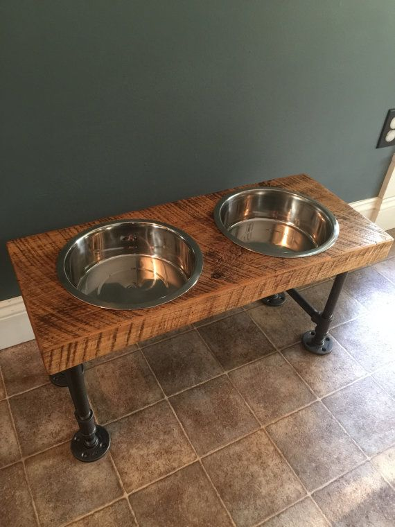 X Large Reclaimed Barn Wood Raised Dog Feeder Everything