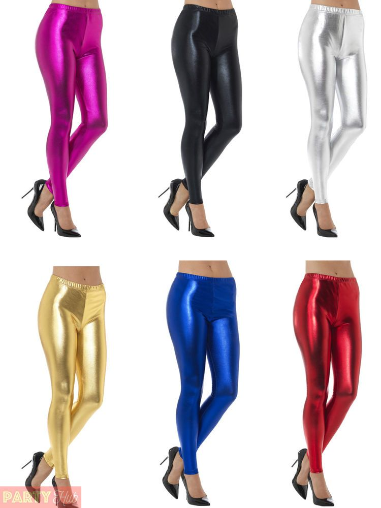 00ea3e1160 Ladies 80s Metallic Leggings Adult Disco Fancy Dress Costume Womens ...