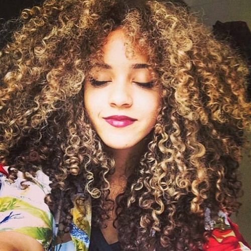 Blonde Highlights On Curly Black Hair Curly Hair Styles Natural