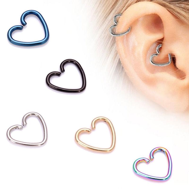 Acero Quirúrgico Corazón Helix Cartílago Anillo Aro Oreja Tragus DAITH Anillo pendiente Hoop